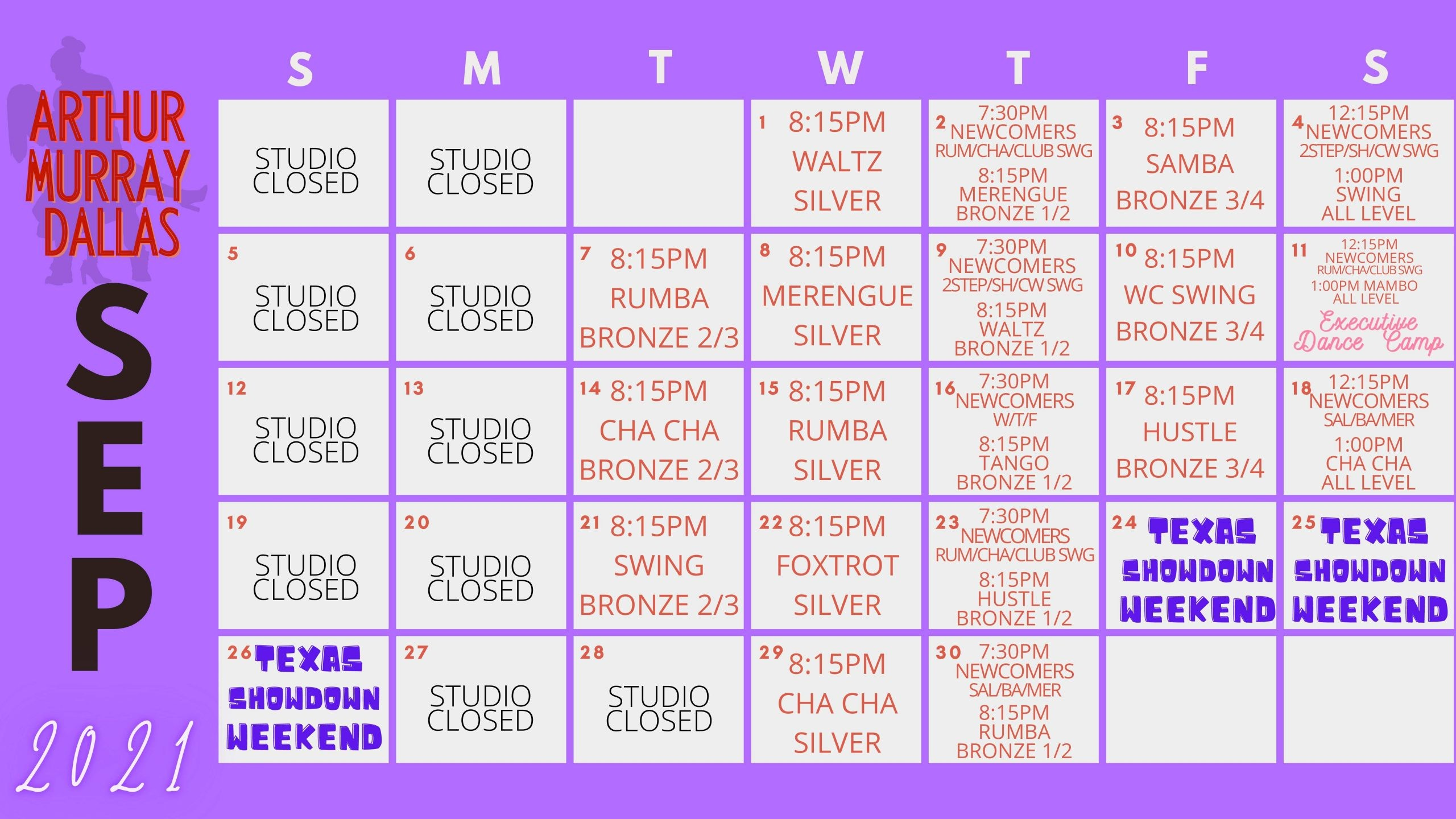 Dance Studio Dallas Calendar
