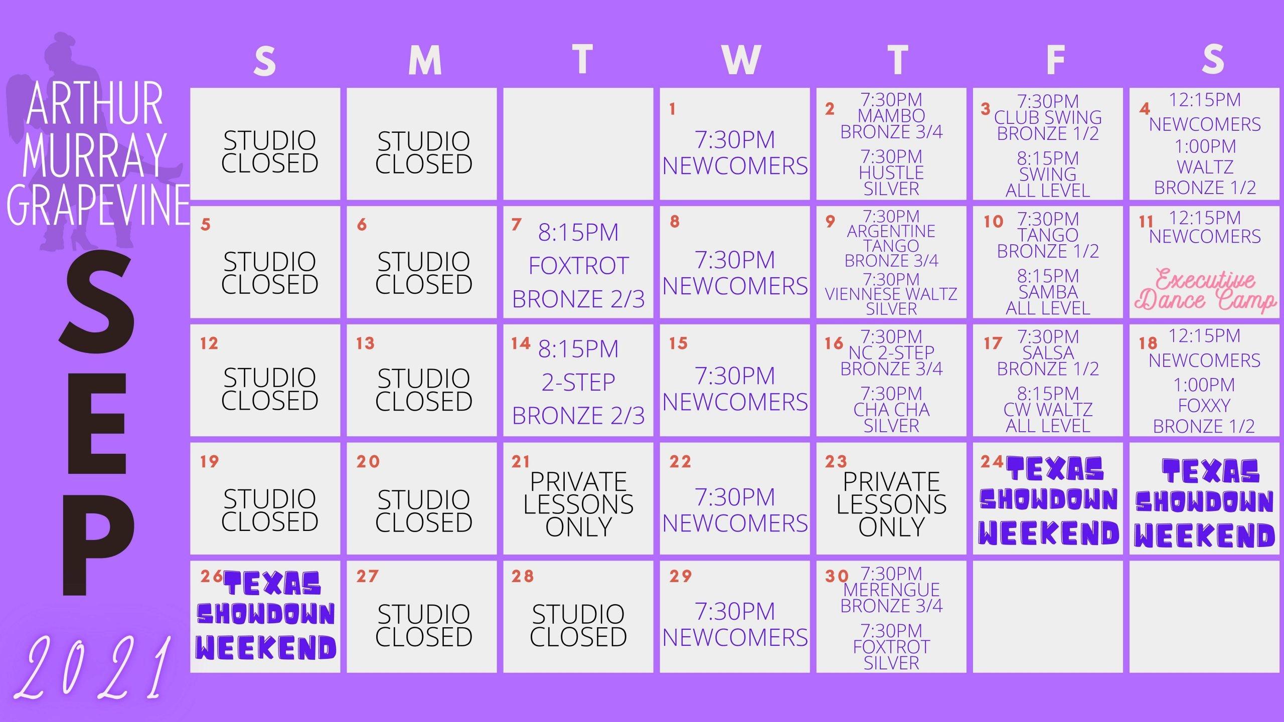 Dance Studio Grapevine Calendar