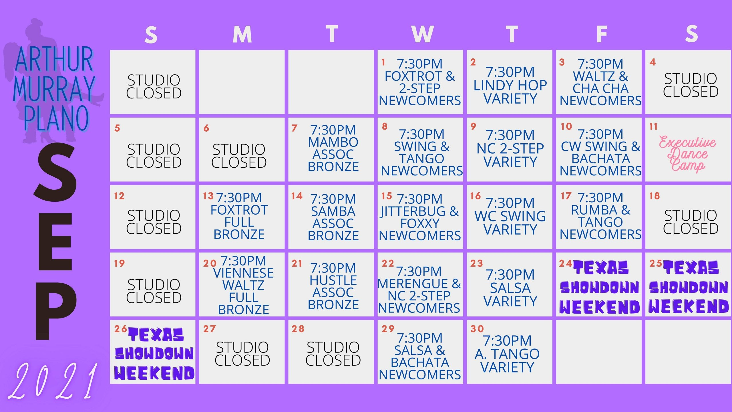 Dance Studio Plano Calendar